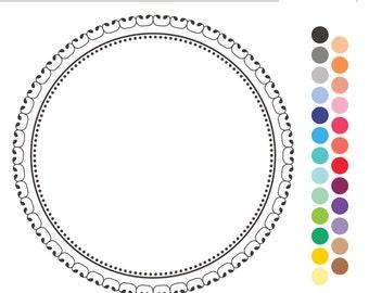 Digital Scrapbooking Frames and Photoshop Brush - Elegant Circle (Royalty Free)