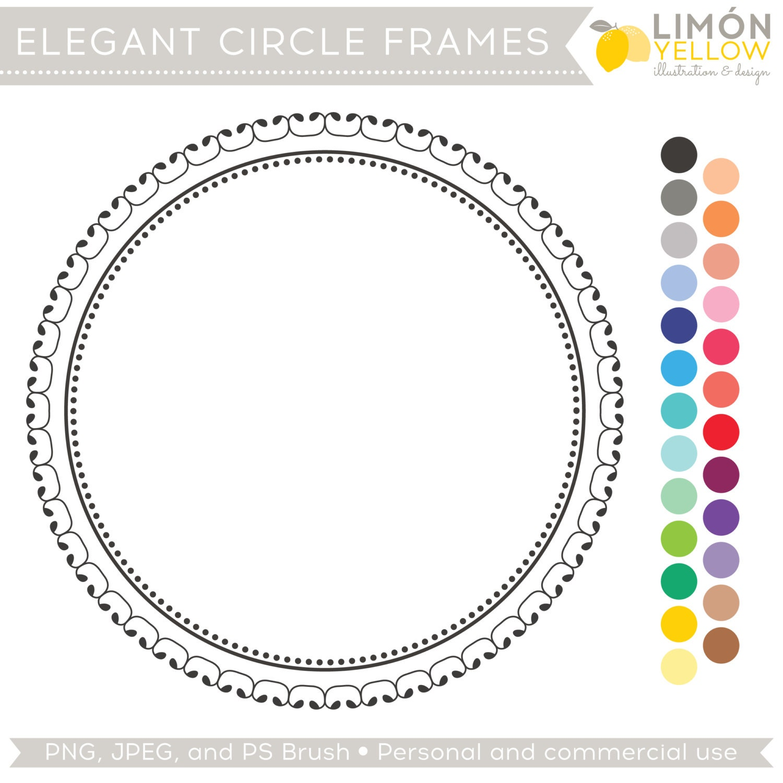 Digital Scrapbooking Frames and Photoshop Brush - Elegant Circle ...