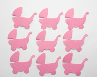 Pink Baby Carriages Die Cuts, Confetti, Carriage Baby Shower Decorations, Scrapbook, Embellishment, Party Supplies, Pink Paper Strollers