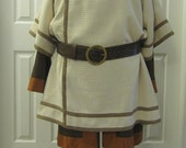 Men's/Women's Cream Waffle Textured Medieval T Tunic with Square Neck, Size XL/2XL (Men) 2XL/3XL (Women)