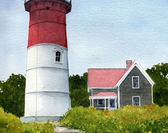 Nauset Beach Lighthouse. Iconic red & white tower in Eastham, Cape Cod, Mass. Matted art prints, 5x7 notecards of original watercolor.