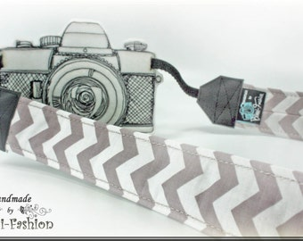 ZIGZAG - Camera strap, DSLR, chevron,gray/white