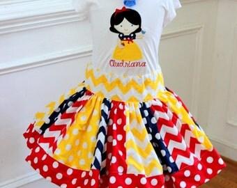 Snow White outfit Birthday snow white outfit girl skirt yellow, navy blue, red chevron polka dot  chevron skirt Princess clothing skirt set
