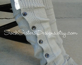SALE!  Button-down Leg Warmers with Lace, wear like Boot Socks too!