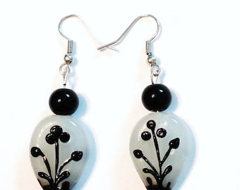 Vase of Flowers Glass Beaded Earrings in Black White Silver Pierced