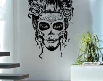 Day of the Dead Girl Version 2 Decal Sticker Wall Vinyl Art Day of the Dead