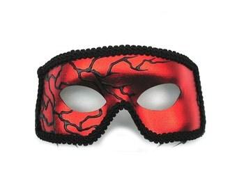 Black Lightning Red Men's Masquerade Mask - A-1131R-E