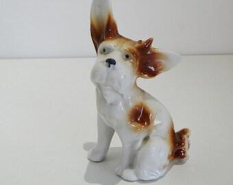 Vintage Figurine Porcelain Dog Brown And White Glaze German Circa 1940's