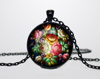 Zhostovo pendant Russian flk necklace Zhostovo Russian folk jewelry