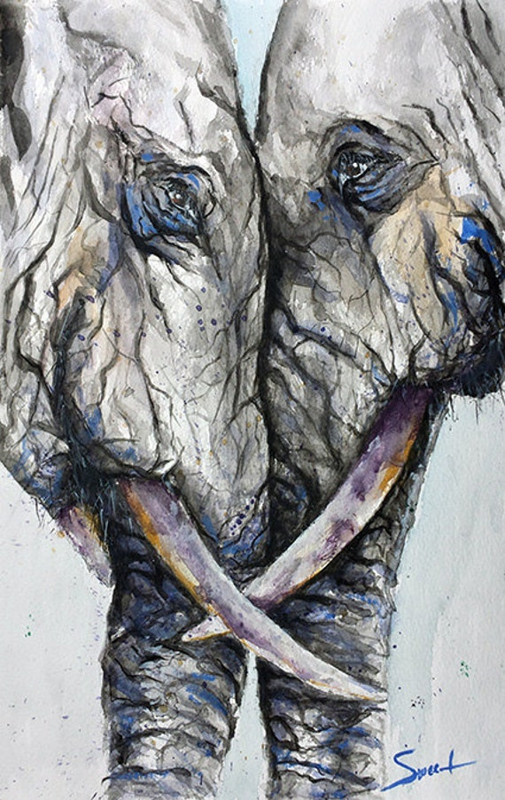 ELEPHANT ART PRINT Elephant Print Watercolor Gift