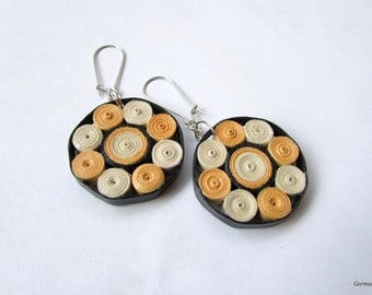 Orange Black Geometric Quilled Paper Earrings, Summer DIY Statement Geometric Earrings, Paper Jewelry