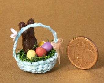 Blue Miniature Easter Basket for Your Dollhouse