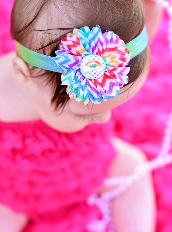 Rainbow Headband Rainbow Flower Headband Rainbow Baby