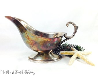 Vintage Silver Sauce Boat Gravy Boat  Decorative Serveware Shabby Decor