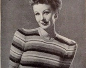 1940s Classic Striped Jumper by Bestway Knitting Pattern PDF