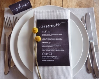 Wedding Menu - Printable Custom DIY Chalkboard Wedding Menu