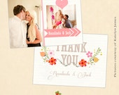 INSTANT DOWNLOAD 5x7 Wedding Thank You Card Photoshop Template - CA380