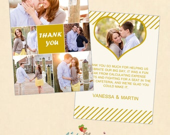 INSTANT DOWNLOAD 5x7 Wedding Thank You Card Template - CA221