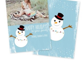 INSTANT DOWNLOAD 5x7 Holiday Card Photoshop Template - CA507