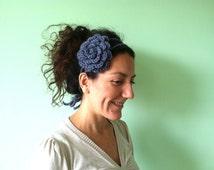 Smokey Teal Crochet Headband, Steel Blue Flower Hair Accessories, Blue Grey Wool Yarn Bohemian Hair Piece, Gunmetal Grey Shabby Chic Bandana