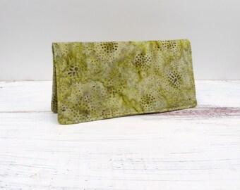 Womens Billfold Full Sized Wallet Clutch Zippered Slot Brown Green Batik Print Cotton Wallet Card Holder