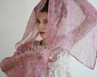Pink scarf  Pink floral shawl Sheer pink flower wrap Pink parisian scarf light evening wrap sheer floral pink evening shawl SEINE ROSE