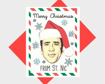 Funny Christmas Card - Merry Christmas From St. Nic - Funny Holiday Card - Greeting Card - Funny Holiday Card - Christmas Card - St Nic Card