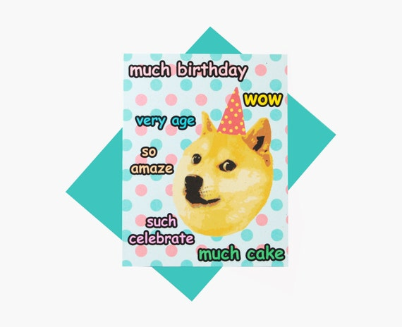 Card - Doge Card - Wow - Such Birthday - Doge Meme Greeting CardDoge Card