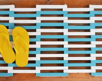 Beach Inspired Salvaged Wood Doormat,  Beach Decor Doormat Made From Reclaimed Wood, Wooden Patio Mat, Outdoor Shower Mat