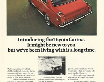Toyota Carina Automobile Original 1972 Vintage Print Ad w/ Color Photo of Red Automobile - Japanese Motor Vehicle