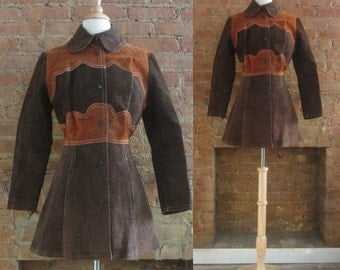1960s chocolate brown two tone suede jacket | 60's Groovy Mod Squad