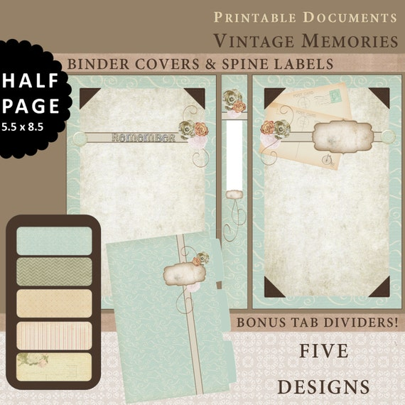 Half page printable binder covers spine labels tabbed for Half page labels