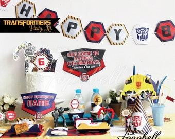 Transformers Party Kit. Complete Set Transformer Party Printables. DIY Transformers birthday party. Personalized Transformer Birthday Kit.