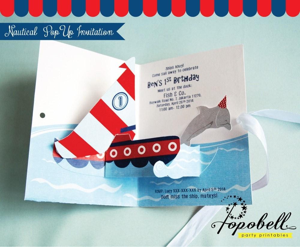 Nautical Invitation DIY Pop Up Invitation For Nautical - How to make a pop up birthday invitation