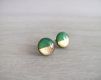 Green Gold Round Stud Earrings - Hypoallergenic Surgical Steel Posts