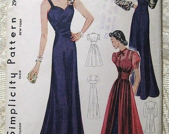 """Vintage 30s 40s Evening Dress w Fitted Jacket Overblouse. Simplicity Sewing Pattern 2932. Size 14,  Bust 32 """""""