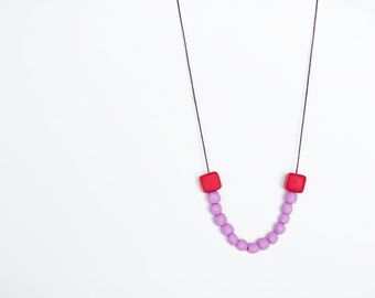 Minimalist necklace Purple Cherry red Beadwork necklace Pastel necklace Geometric necklace Simple necklace Metal free Polymer clay necklace