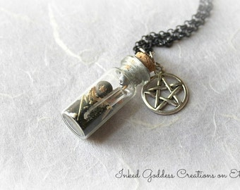 Protection Witch Bottle Amulet Necklace, Herbs, Pentagram, Sealed