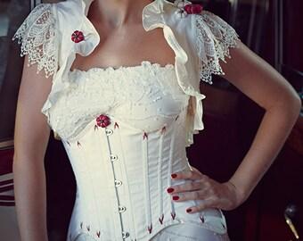 "White Red Silk Edwardian Underbust Corset ""Fleurs de Cerisier"" Garnet Flossing Luxury Wedding"