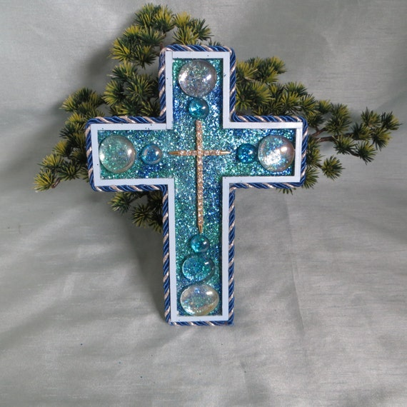 Items similar to decorative blue wall cross rhinestone wall cross home decor wedding decor Home decor wall crosses