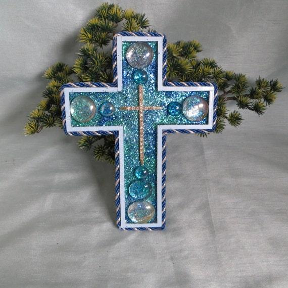 Items Similar To Decorative Blue Wall Cross Rhinestone Wall Cross Home Decor Wedding Decor: home decor wall crosses