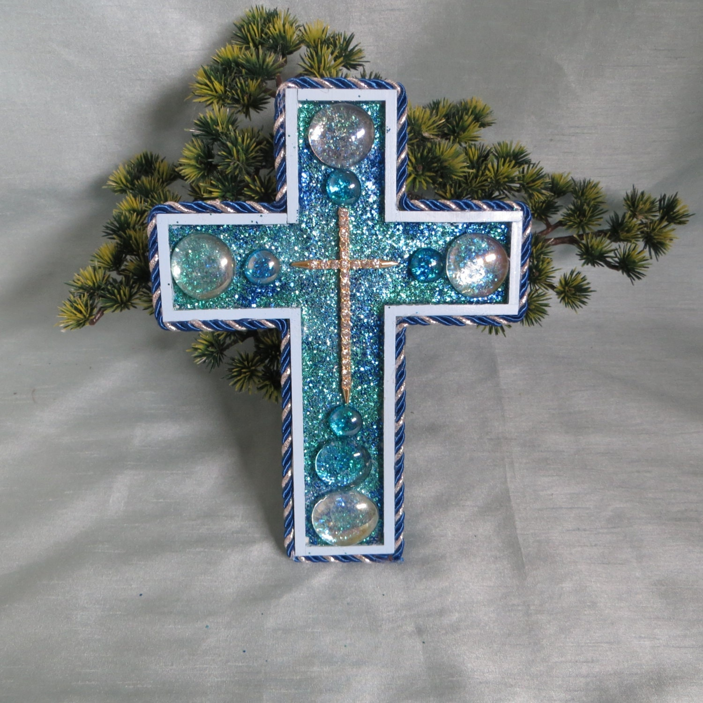 Decorative Blue Wall Cross_Rhinestone Wall By