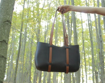 leather tote FREE SHIPPING. large tote. hand sewn leather market tote bag in chestnut water buffalo bridle leather. under the tree. handsewn