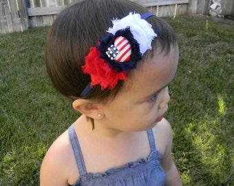 petite patriotic shabby flower baby/toddler headband
