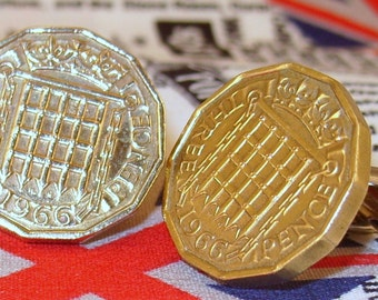 Boxed Pair Vintage British 1966 Threepence 3d Coin Cufflinks Wedding 51st Birthday