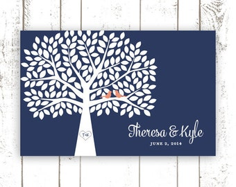Wedding Guest Book, Guest Book Alternative for 175 Guests, Navy and Coral Guestbook