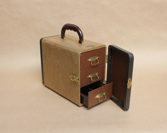 Vintage Baja Slide Carrying Case with Three Drawers- Retro Home Decor