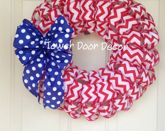 Red Chevron Wreath with Blue and White Polka Dot Bow, Patriotic Wreath, USA,  4th of July,  Red white and blue wreath