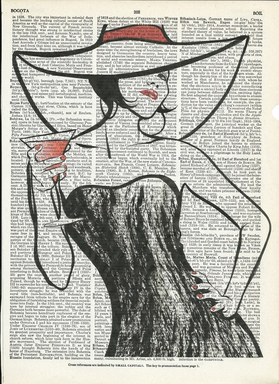 Portrait of Pretty Woman Dictionary Art Print on Upcycle Vintage Page Book Print Art Print Illustration Print Collage Print