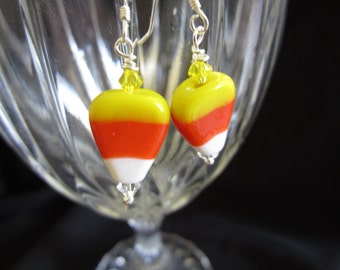 Candy Corn earrings on Sterling Silver, Halloween earrings, Candy Corn Earrings, Sterling Silver Earrings .925